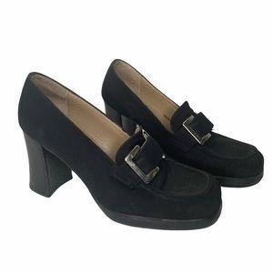 Vintage Pegabo Y2K stacked heel suede loafers sz37